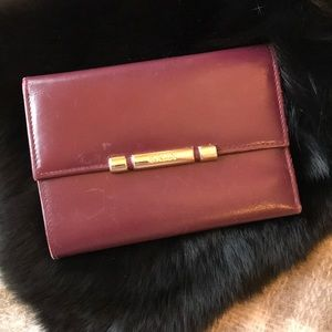 Bally Burgundy Trifold Leather Wallet